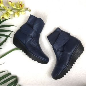 Fly London Blue Leather Rada Booties